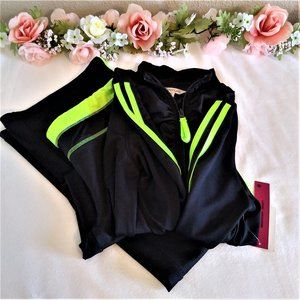 Energie Two Piece Black and Green Work Out Set